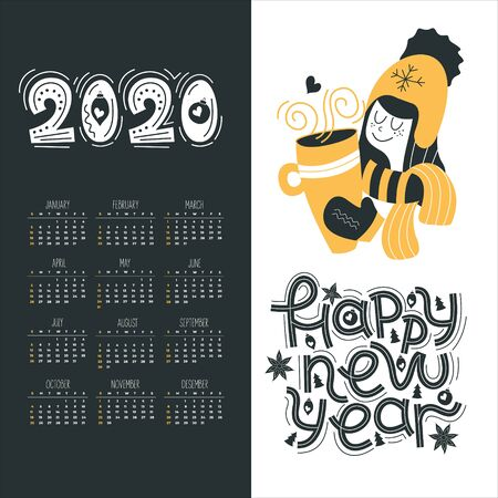 Calendar 2020. Vector illustration. Cute girl with a mug of hot drink. Happy new year. Ilustracja