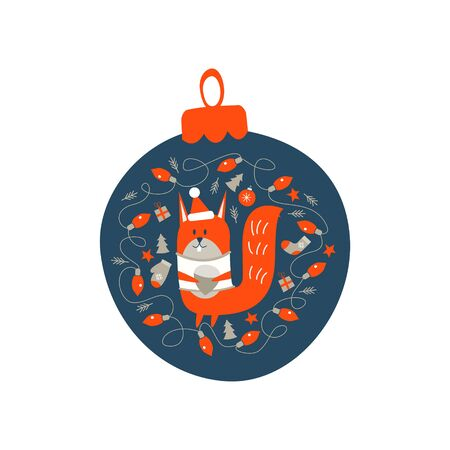 Christmas decoration Christmas ball. Cute squirrel with a nut surrounded by Christmas decor. Vector illustration.