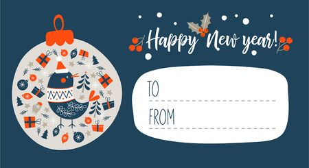 Happy New Year!. Invitation to a festive event with a little bird in a knitted sweater and a hat. Vector illustration, greeting Christmas card. 写真素材 - 135206390