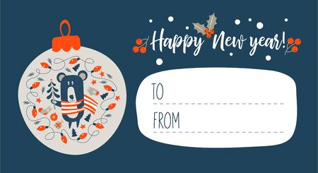 Happy New Year! Invitation to a festive event with a little bear cub dressed in a striped scarf. Vector illustration, greeting Christmas card.