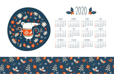 2020 calendar with the symbol of the year of the mouse. Cute mouse surrounded by Christmas decor. Vector illustration.  イラスト・ベクター素材