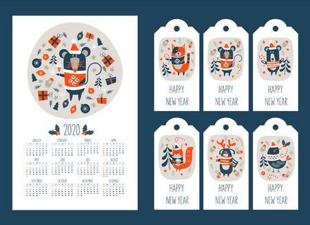 2020 calendar with the symbol of the year of the mouse. Set of tags with new year greetings and cute animals. Christmas squirrel, cat in sweater, bird, funny bear and funny deer. Vector illustration. 写真素材 - 135977789