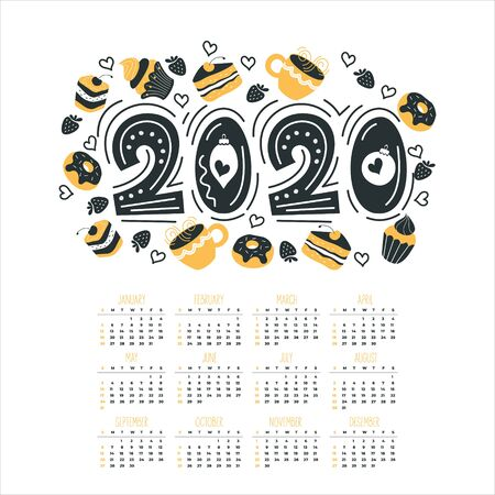 The calendar year 2020. Vector illustration. Holiday card. Hand drawn lettering. Set of cute sweets. Cakes, doughnuts, mugs of hot drink. Cakes, muffins, cakes, tea, coffee.