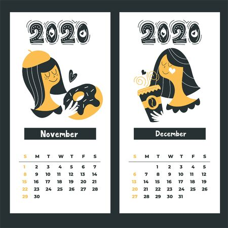 Calendar 2020. Vector illustration. Cute girl with a mug of hot drink. Happy new year. Illustration