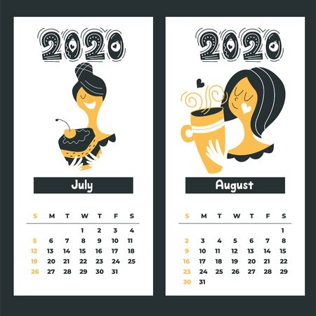 Calendar 2020. Vector illustration. Cute girl with a mug of hot drink. Happy new year. 写真素材 - 135637559