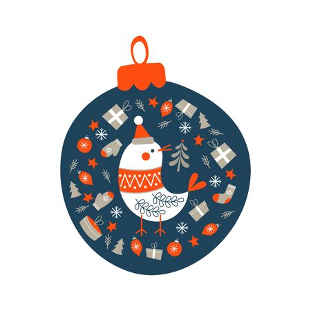 Christmas decoration Christmas ball. Cute bird in a knitted sweater surrounded by Christmas decor. Vector illustration  イラスト・ベクター素材