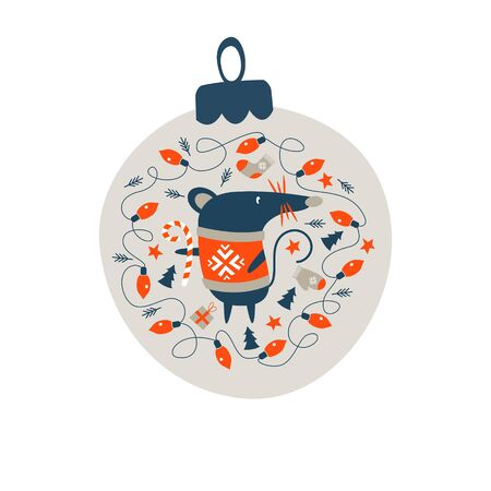 Christmas decoration Christmas ball. Cute mouse, a symbol of the new year 2020 surrounded by Christmas decor. Vector illustration