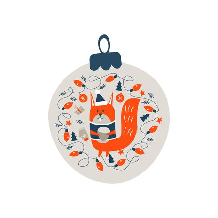 Christmas decoration Christmas ball. Cute squirrel with a nut surrounded by Christmas decor. Vector illustration. 写真素材 - 135637562