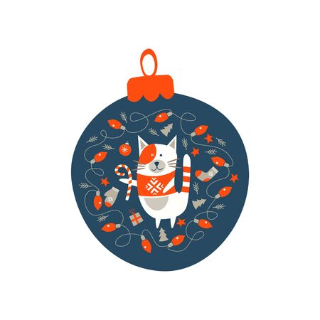Christmas decoration Christmas ball. Cute cat in a knitted sweater surrounded by Christmas decor. Vector illustration.