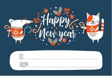 Happy New Year!. Invitation to a festive event with a cute mouse, a symbol of the new year 2020 and a funny cat. Vector illustration. Dark blue background and space for your text. Nice new year letter