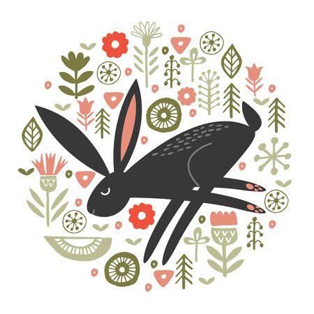 Black hare among tender spring flowers. Circular floral ornament. Vector illustration