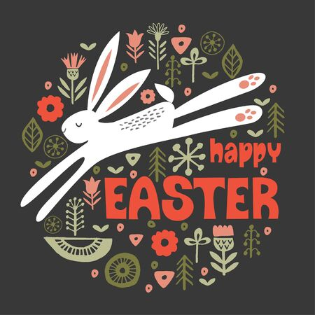 happy Easter. White hare in a circular floral pattern. Vector illustration on a dark background. Greeting card.