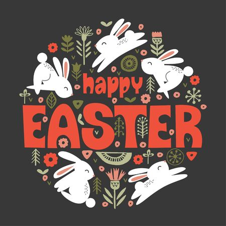 happy Easter. Vector illustration. Cute white rabbits in a circular floral pattern on a dark background. Greeting card.