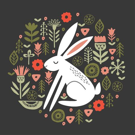 Vector illustration. Hare in a circular floral pattern, on a dark background.  イラスト・ベクター素材