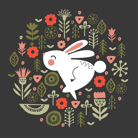 Vector illustration. Cute rabbit in a circular floral pattern, on a dark background.