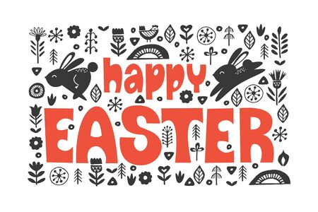 happy Easter. Greeting card, vector illustration. Black and white image with a bright greeting hand drawn inscription. Rabbits and spring flowers. Easter composition in folk style.