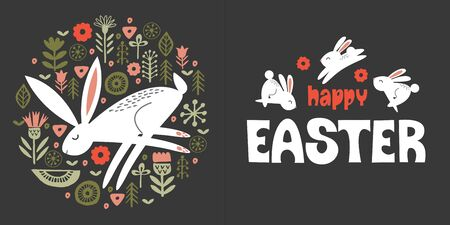 happy Easter. Greeting card, vector illustration on a dark background. White rabbits among the spring flowers. Hare in a circular floral ornament. Folk style.