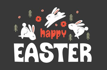 happy Easter. Greeting card, bright vector illustration on a dark background. White cute rabbits jump among Christmas trees and orange flowers.  イラスト・ベクター素材
