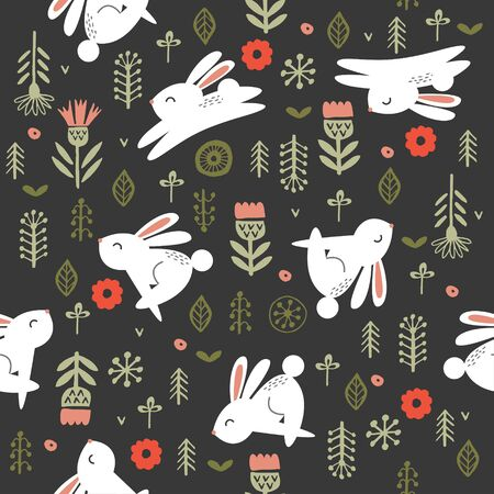 Seamless pattern on a dark background. Cute white rabbits among flowers. Vector illustration. For printing on fabric, paper. To create your own Easter design.  イラスト・ベクター素材