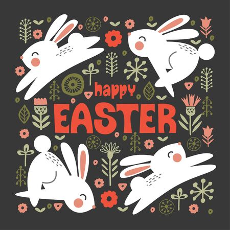 happy Easter. Greeting card, bright vector illustration on a dark background. White cute rabbits jump among the spring flowers.  イラスト・ベクター素材
