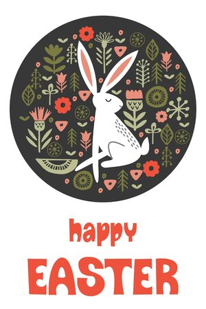 happy Easter. Greeting card, vector illustration. White rabbit in a circular pattern of spring flowers. Hand drawn text. On dark background. 写真素材 - 138876000