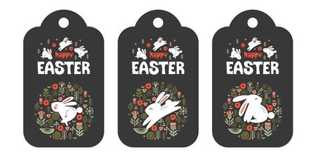 A set of three tags. happy Easter. Cute rabbits in a circular pattern of spring flowers. Vector illustration. Greeting card on a dark background.  イラスト・ベクター素材