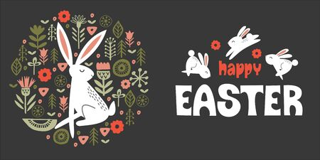 happy Easter. Cute white rabbits and a hare in a circular pattern of spring flowers. On dark background. Vector illustration. Hand drawn text.