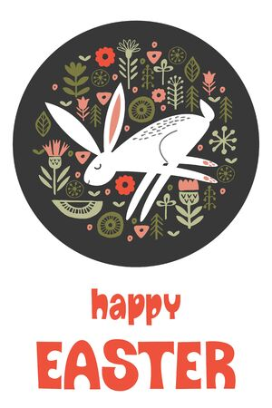 happy Easter. Greeting card, vector illustration. White rabbit in a circular pattern of spring flowers. Hand drawn text. On dark background.