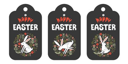 Set of tags. happy Easter. White hare in a circular ornament of spring flowers. On dark background. Vector illustration. Hand drawn text.  イラスト・ベクター素材