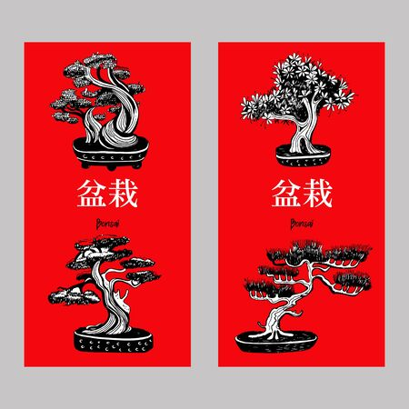 Set of Bonsai trees, small trees grown in a tray. Vector hand drawn black and white illustration on a red background. Inscription in Japanese Bonsai characters.