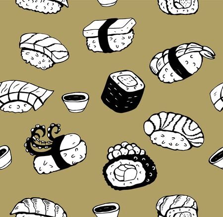 Japanese sushi. Seamless black and white pattern. On a Golden background. Different types of sushi and poppies. Vector illustration hand drawn.