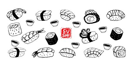Sushi roll, black vector line drawing on white background. Different sushi species: maki, nigiri, gunkan, temaki. Japanese food menu design elements. 版權商用圖片 - 142807494