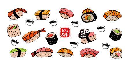 Sushi roll, black vector line drawing. Different sushi species: maki, nigiri, gunkan, temaki. Japanese food menu design elements. 向量圖像