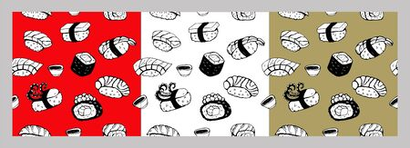 Set of seamless patterns. Sushi roll, black vector line drawing on red, white and gold background. Different sushi species: maki, nigiri, gunkan, temaki. Japanese food menu design elements. 版權商用圖片 - 142801658