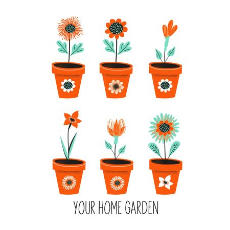 Gardening. Floriculture. Set of pots with flowers. Vector illustration with vintage textures on a white background.