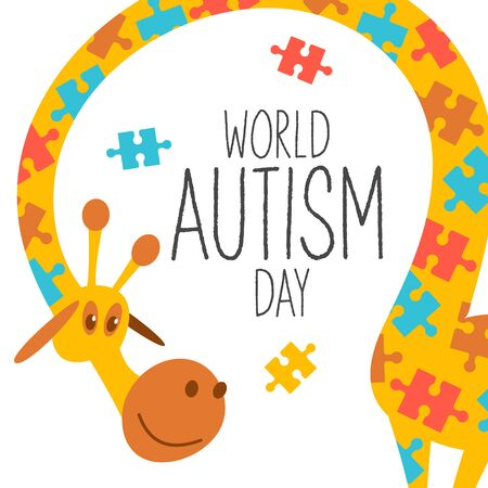 World autism awareness day. A holiday for people with autism. Cute vector illustration with giraffes. Giraffes are painted as a multi-colored puzzle, a symbol of autism syndrome. The color of the giraffe symbolizes the difference between people with autism and other people.