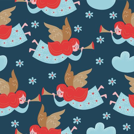 Seamless pattern with cute little angels. Vector stylized illustration on a dark blue background. For printing fabric, paper.