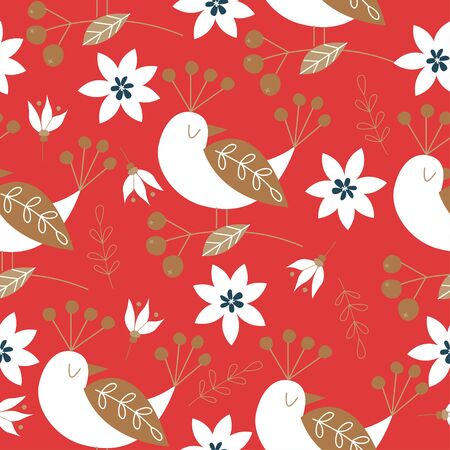 Spring seamless pattern with birds. Vector stylized illustration on a red background. For printing fabric, paper.
