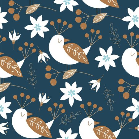 Spring seamless pattern with birds. Vector stylized illustration on a dark blue background. For printing fabric, paper.