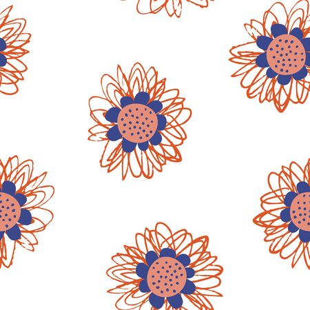 Seamless pattern on a white background. Abstract colorful flowers.