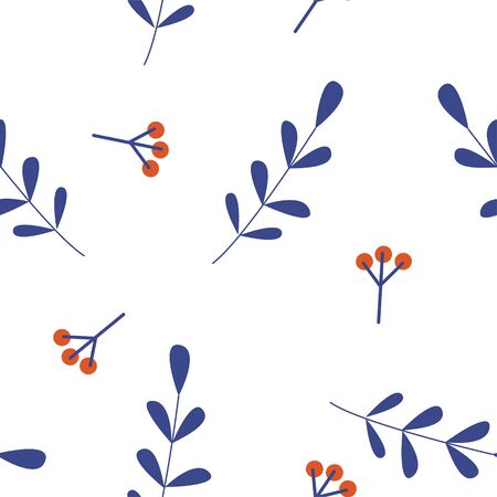 Seamless pattern on a white background. Small berries on the branches. Ilustração