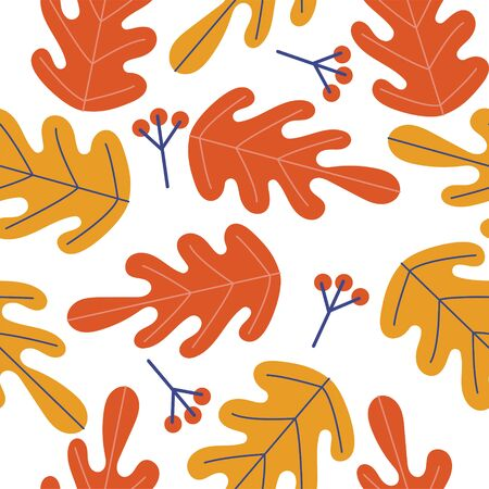 Seamless pattern on a white background. Autumn leaves and berries.