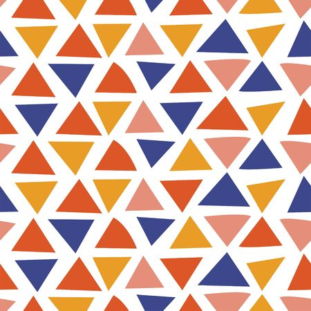 Abstract seamless pattern on a white background. Multi-colored triangles.