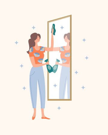 The girl washes the mirror. In the mirror, you can see the girl's reflection. Domestic work. Vector illustration on a light background.