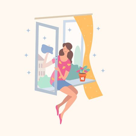 House cleaning. Vector illustration on a light background. A small scene. The girl sitting on the windowsill washes the window. There is a flower pot on the windowsill.