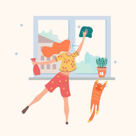 Homework. Cute girl washes the window. There is a flower pot on the windowsill. A red cat tries to climb on the windowsill. Vector illustration.