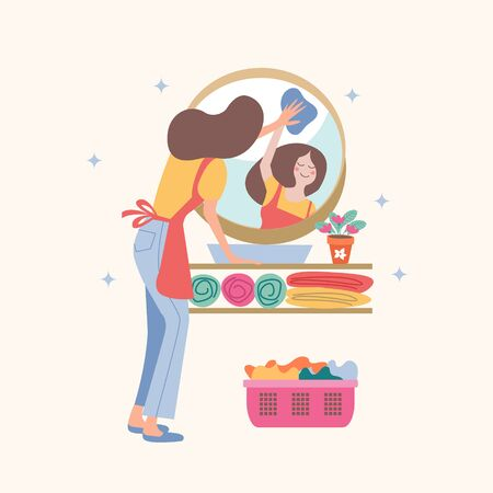 House cleaning. A girl washes the mirror in the bathroom. In the mirror, you can see the girl's reflection. Vector illustration on a light background. Stock Illustratie