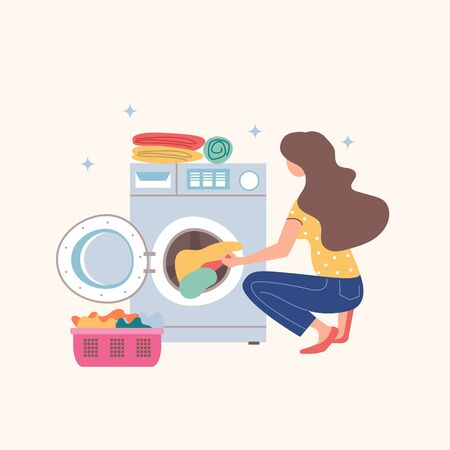 House cleaning. A girl puts dirty Laundry in the washing machine. Vector illustration on a white background. The concept of a clean house.