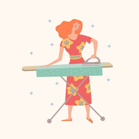 A girl in a beautiful dress is Ironing clothes. Domestic work. House cleaning. Vector illustration on a light background.