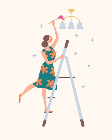 Girl standing on the stairs cleaning the chandelier. Domestic work. Vector illustration on a light background.